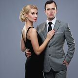 Couple  on grey Royalty Free Stock Photos