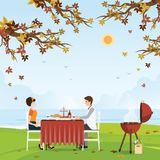 Couple grilling meat and picnic table under bright color autumn stock illustration