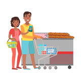 Couple Grocery Shopping, Shopping Mall And Department Store Section Illustration Stock Photos