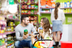 Couple at the grocery store Stock Photo