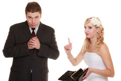 Couple groom and bride with empty purse, conflict. Royalty Free Stock Photography