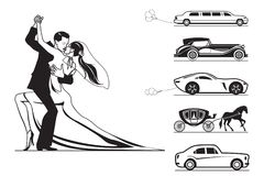 Couple of groom and bride with wedding cars. Vector illustration Stock Photo