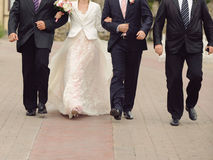 Couple with Groomsmen Stock Images