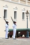 Couple of guards near Prince`s Palace of Monaco stock image