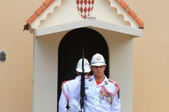 Couple of guards near Prince`s Palace of Monaco Royalty Free Stock Photography