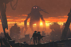 Couple with gun looking at giant robot. Sci-fi scene of couple holding gun looking at giant robot standing in destroyed city, digital art style, illustration vector illustration