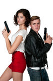 Couple with Guns Royalty Free Stock Photos