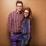 Couple of guys dressed in clothes hipsters Royalty Free Stock Image