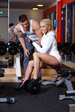 Couple at the gym stock photo