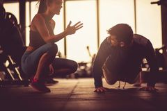 Couple at gym. stock photo