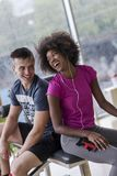Couple in a gym have break Royalty Free Stock Photography