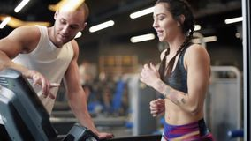 Couple on the gym stock footage