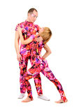 A couple of gymnasts. In colorful stage costumes Stock Photo