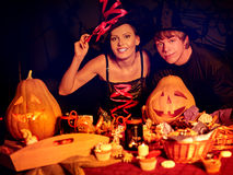 Couple on Halloween party Stock Image
