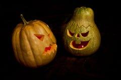 Couple of Halloween pumpkins head jack lantern Stock Photos