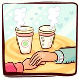 Couple hand and coffee Stock Images
