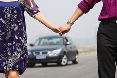 Couple hand in hand Stock Images
