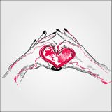 Couple hand in love or valentine themed simple illustration. Hands make heart isolated Royalty Free Stock Images