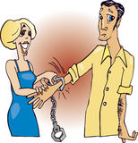 Couple and handcuff. Cartoon illustration of couple and handcuff Stock Photo