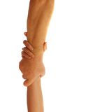 Couple with hands. Rescuing each other from peril Royalty Free Stock Image