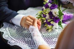 Couple, hands, hold, napkin Stock Photos