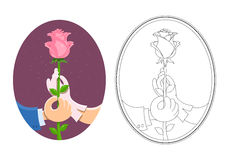Couple of hands hold rose vector illustration