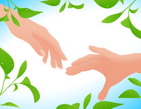 Couple hands on leaf background. Vector illustration, AI file included Royalty Free Stock Photo