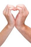 Couple hands making heart sign Royalty Free Stock Photos