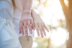Couple hands with rings over sunset background. Wedding concept Royalty Free Stock Image