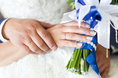 Couple hands on wedding Stock Photography