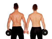 Couple of handsome muscled men back training Royalty Free Stock Photography