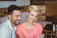 couple hanging out in a coffee shop Stock Images