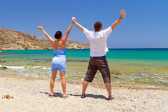 Couple in happiness at the sea Stock Images