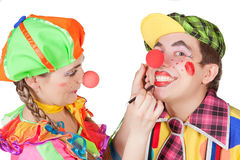 Couple of happy clowns Royalty Free Stock Photography