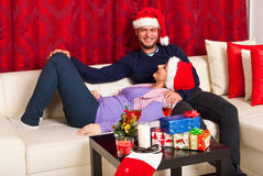 Couple happy conversation in Xmas night Royalty Free Stock Photo