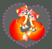 Couple of happy foxes. Royalty Free Stock Photography