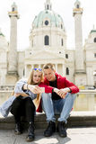 Couple happy in love taking selfie self-portrait photo in Vienna. Austria Stock Image