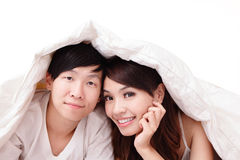 Couple happy smile in bed Royalty Free Stock Photo