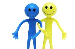 Couple of happy smilies isolated on the white Royalty Free Stock Photo