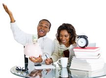 Couple happy at their savings Stock Photo