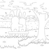 A couple of hares on the bench admire the sunset. Coloring book Stock Images
