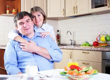Couple has breakfast together Stock Images