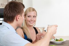 Couple has dating supper Stock Images