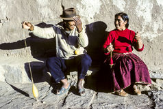 Couple has fun doing knitting together at island of Taquile Royalty Free Stock Photo