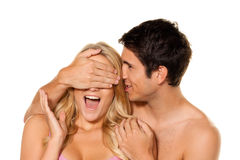Couple has fun. Love, eroticism and tenderness stock photo