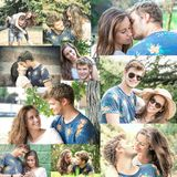 Couple has fun in the park collage Royalty Free Stock Image