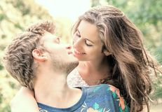 Couple has fun in the park Royalty Free Stock Photo