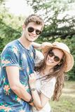 Couple has fun in the park Stock Image