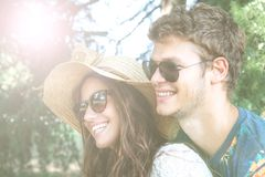 Couple has fun in the park. Young couple has fun in the park Royalty Free Stock Images