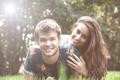 Couple has fun in the park. Young couple has fun in the park Stock Photo